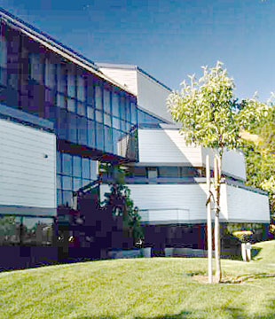 Three-story office building exterior